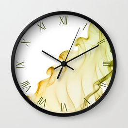 Yellow green twisted smoke abstracts Wall Clock