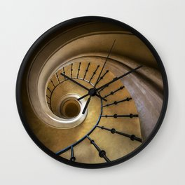 Golden spiral staircase Wall Clock