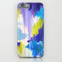 WINTER DREAMING - Jewel Tone Colorful Eggplant Plum Periwinkle Purple Chevron Ikat Abstract Painting iPhone Case