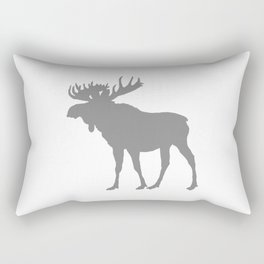 Moose: Grey Rectangular Pillow