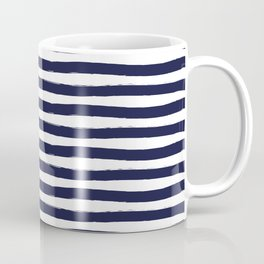 Navy Blue and White Horizontal Stripes Coffee Mug
