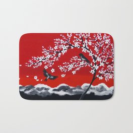 Crimson and Black Bath Mat