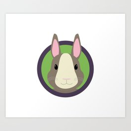 Cute Rabbit head with purple cirlcle Art Print