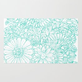 Artistic teal white hand painted floral pattern Rug