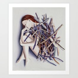Buried in sticks Art Print