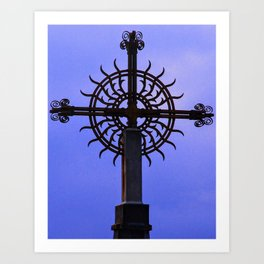 Cross on Mt. Boron, France Art Print