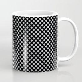 Black and Glacier Gray Polka Dots Coffee Mug