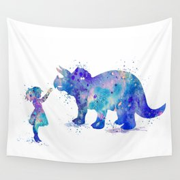 Girl and Dinosaur Triceratops Colorful Watercolor Silhouette Wall Tapestry