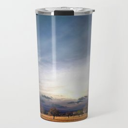 Forest of almond and pine trees against sunset Travel Mug