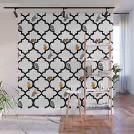 Cats on a Lattice - White Wall Mural