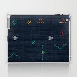 Cactus Silk Pattern in Navy Blue Laptop & iPad Skin