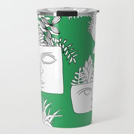 Illustrated Plant Faces in Kelly Green Travel Mug