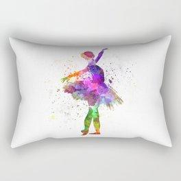 Young woman ballerina ballet dancer dancing with tutu Rectangular Pillow
