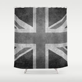 Union Jack Vintage 3:5 Version in grayscale Shower Curtain