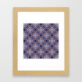 Beautiful Blue and Gold Beadwork Inspired Print Framed Art Print