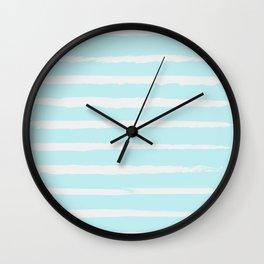Irregular Hand Painted Stripes Mint Wall Clock