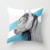 mustang Throw Pillows featuring Mustang by Putrizia Pine