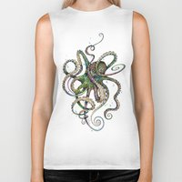 breakfast Biker Tanks featuring Octopsychedelia by TAOJB