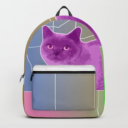 Neon Purple Cat on Colorful Background Backpack