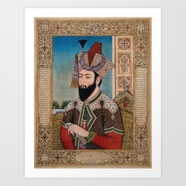 A Mughal emperor or member of a royal family. Gouache painting by an Indian painter between 1800 and Art Print