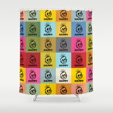 HAPPY SQUARES Shower Curtain