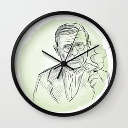 hand drawn portrait of Jean Paul Sartre . sketch style Wall Clock