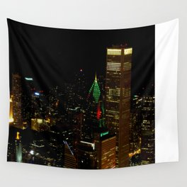 A Christmas Skyline in Chicago (Chicago Christmas/Holiday Collection) Wall Tapestry