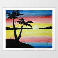 Landscape Beach Sunset Art Print