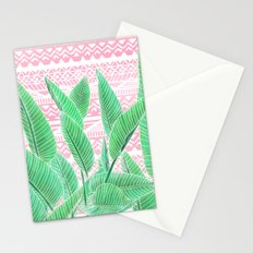 Summer green watercolor tropical leaf white pink aztec geometric pattern Stationery Cards