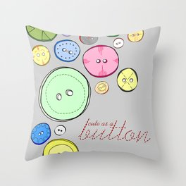 Cute as a Button Colorful Digitally Illustrated Print Throw Pillow