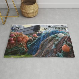 Dutch Harbor Fishing Nets and Boats Rug