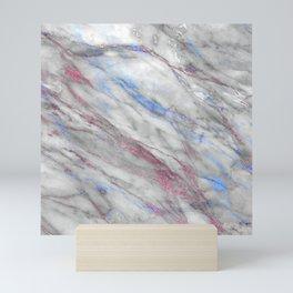 Elegant modern faux rose gold blue abstract marble Mini Art Print