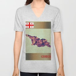 Georgia Map with Flag Unisex V-Neck