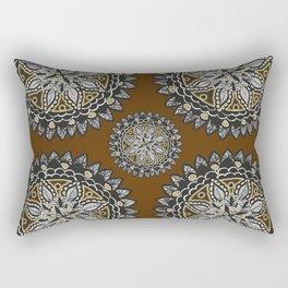 Fall Inspired Black, Brown, and Gold Mandala Textile Pattern Rectangular Pillow