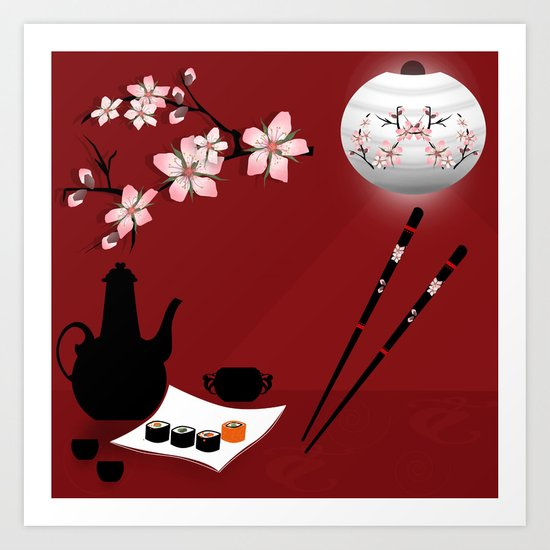 Oriental cuisine . Sushi and rolls . Art Print