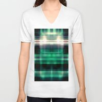 plaid V-neck T-shirts featuring New Plaid by Tami Cudahy