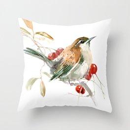 Carolina Warbler Throw Pillow