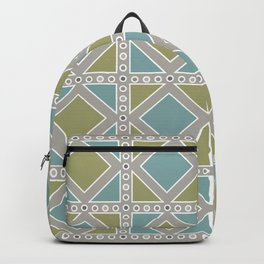 Moss Green and Teal Pattern Backpack