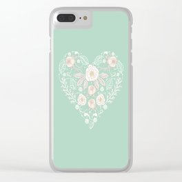 Nebula Pink Heart Clear iPhone Case