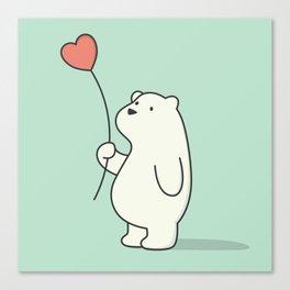 Kawaii Cute Polar Bear Canvas Print