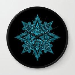 Ancient Blue and Black Aztec Sun Mask Wall Clock