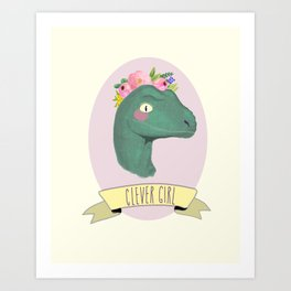 Clever Girl Dinosaur / Jurassic Park / Gift for Her / Boho Baby Animal Nursery Decor / Feminist Art Print