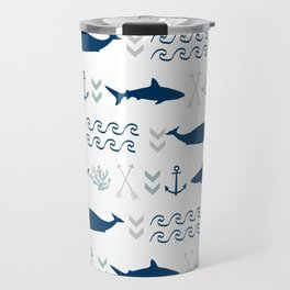 nautical whales sharks and anchors in navy grey white kids nursery boys girls decor Travel Mug