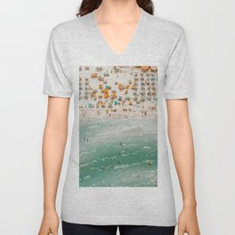 Aerial View From Flying Drone Of People Crowd Relaxing On the beach. Vintage summer photos. Unisex V-Neck