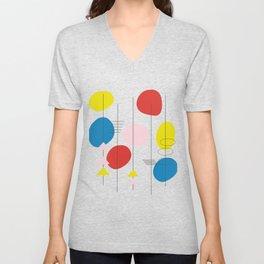 Bright Colorful Mid Century Modern Atomic Age Design Unisex V-Neck