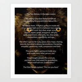 The TWO WOLVES CHEROKEE TALE Art Print