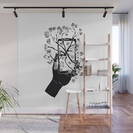 Break Free Cellphone Illustration - Hand holding cellphone growing a tree. Wall Mural