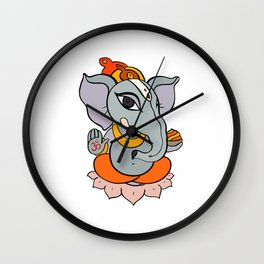 Hindu God Ganapati (Ganesha). Hand drawn illustration. Wall Clock
