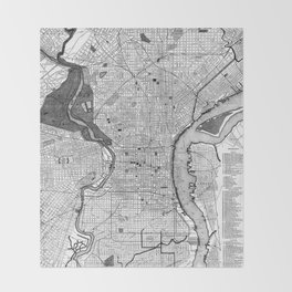 Vintage Map of Philadelphia PA (1895) BW Throw Blanket