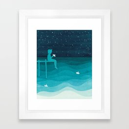 Boy with paper boats, watercolor teal art Framed Art Print